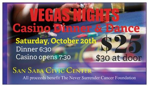 Vegas Night Casino Dinner & Dance Sponsored by Never Surrender Cancer Foundation @ San Saba Civic Center | San Saba | Texas | United States