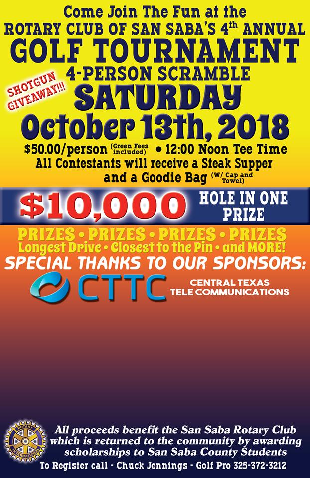 4 Person Scramble Tournament Sponsored by Rotary Club @ San Saba River Golf Club | San Saba | Texas | United States