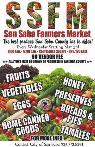 Farmer's Market - San Saba County @ San Saba County Courthouse | San Saba | Texas | United States