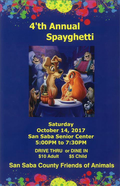 SSCFOA Spayghetti Supper @ San Saba Senior Center | San Saba | Texas | United States