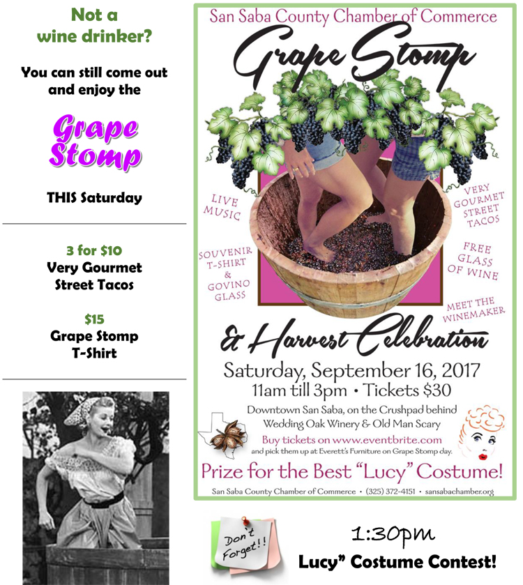 Grape Stomp & Harvest Celebration - Sponsored by San Saba County Chamber of Commerce @ Everett's Furniture & Emporium | San Saba | Texas | United States