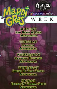 Oliver & Co Mardi Gras Week Menu @ Oliver & Company | San Saba | Texas | United States