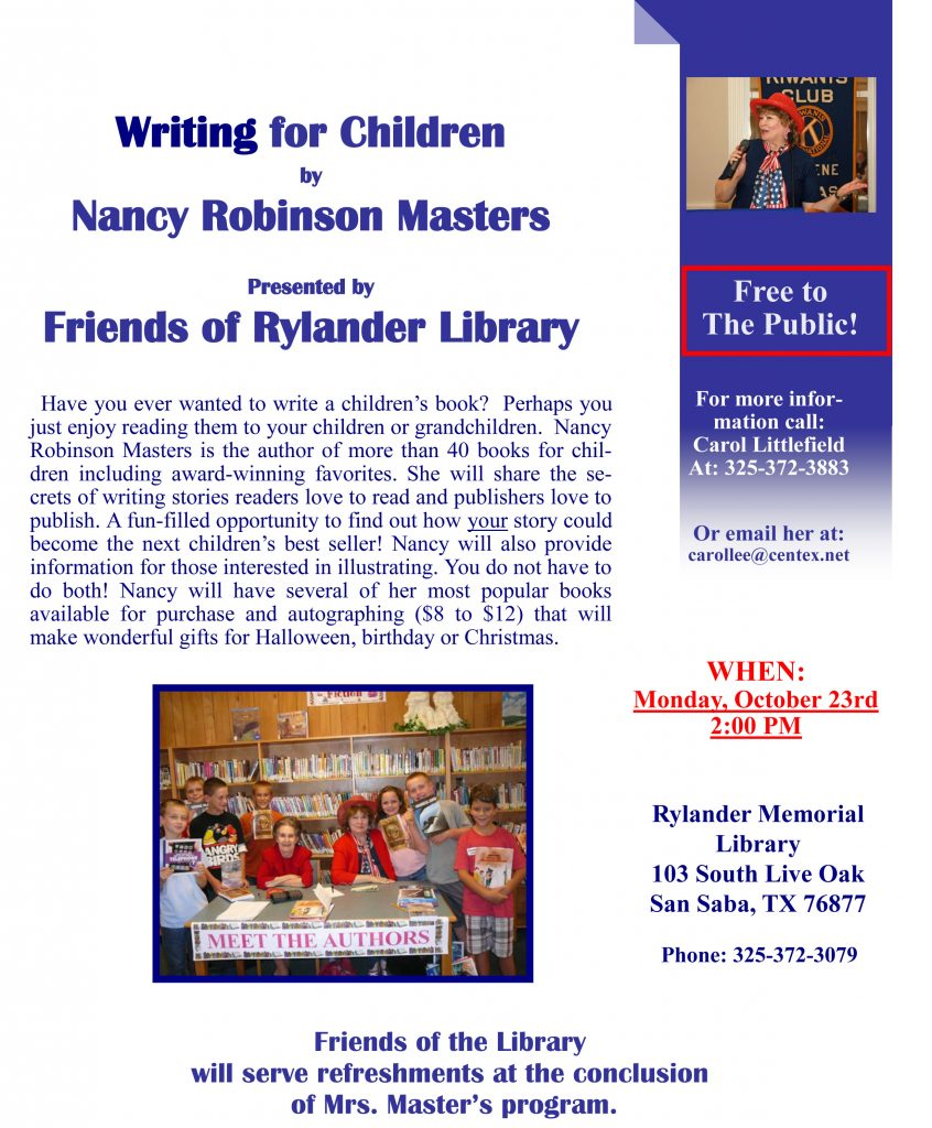Writing for Children by Nancy Robinson Master @ Rylander Memorial Library | San Saba | Texas | United States
