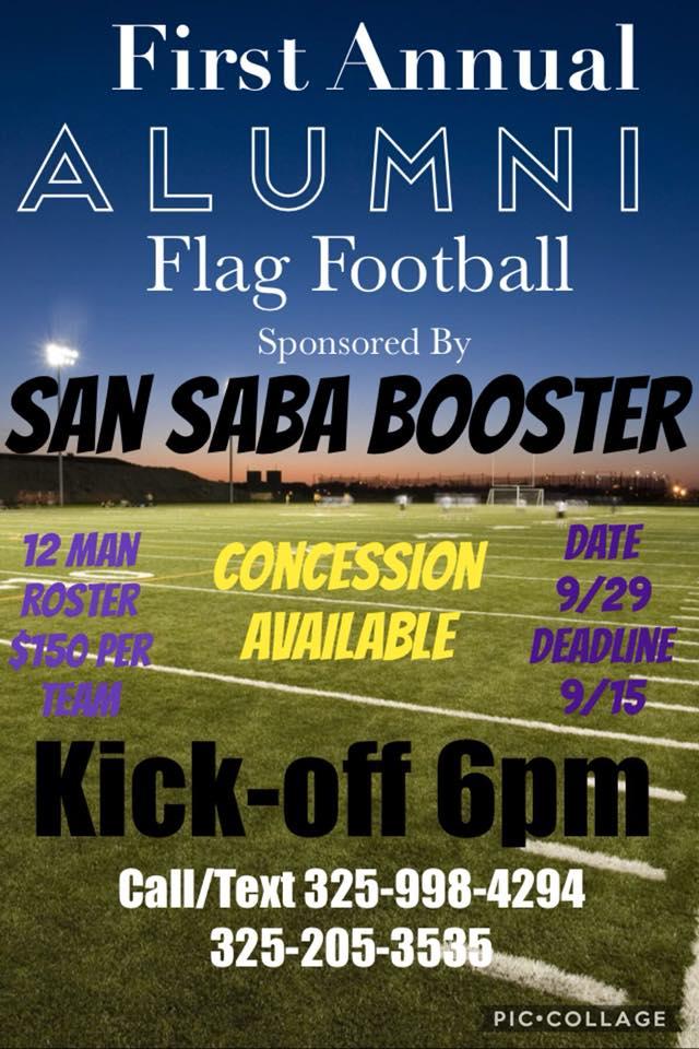 Deadline Alumni Flag Football Sponsored by San Saba All Sports Booster Club