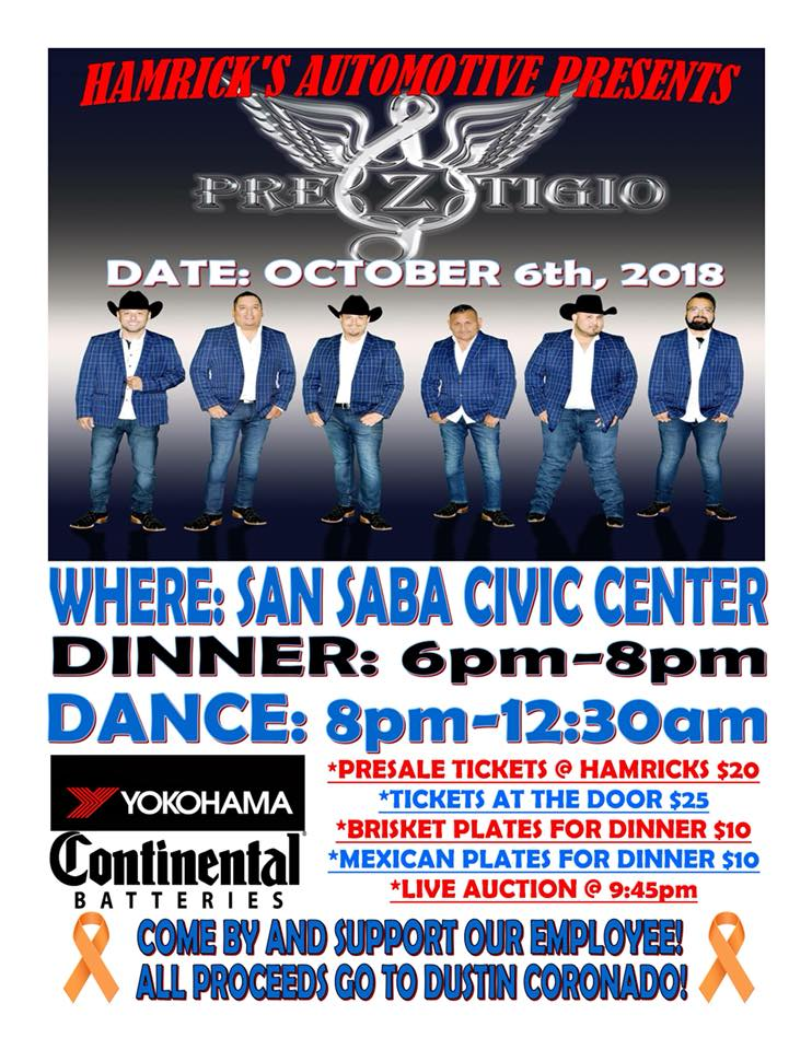 Dustin Coronado Dinner & Dance Fundraiser @ San Saba Civic Center | San Saba | Texas | United States