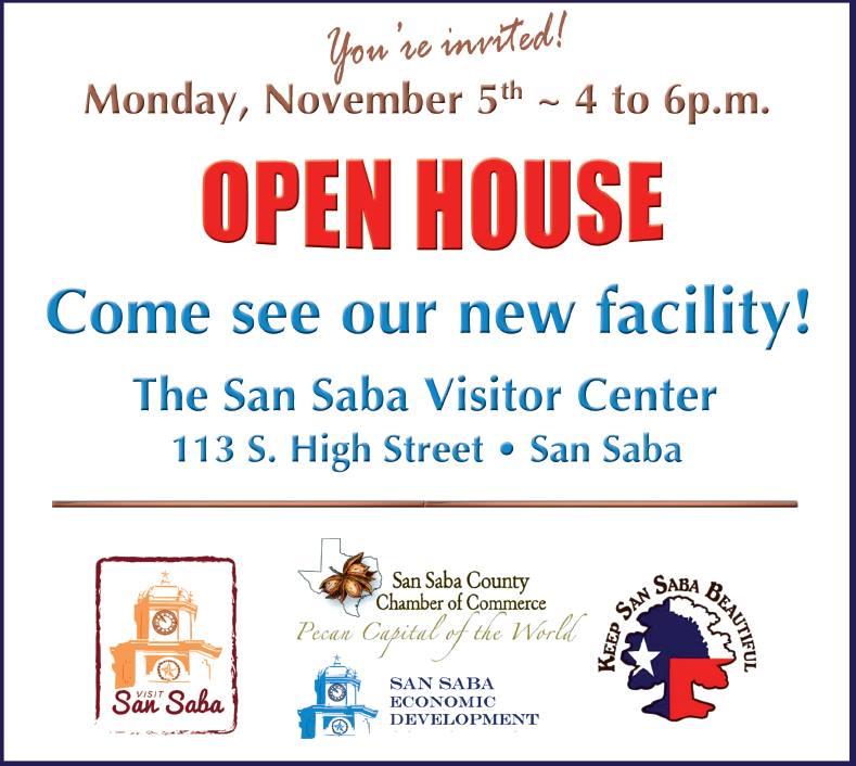 San Saba Visitor Center Open House @ San Saba Visitor Center   San Saba   Texas   United States